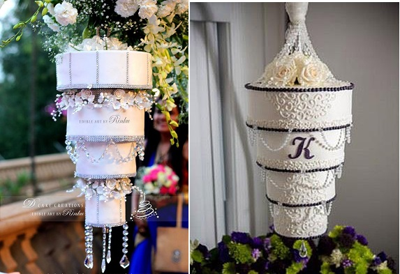upside down wedding cakes chandelier wedding cakes by Edible Art by Ringku left and by Holly's Cakes right (Life Song Photographic)