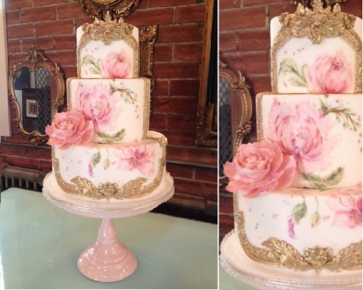antique frame wedding cake by Nadia & Co, Pastry & Art