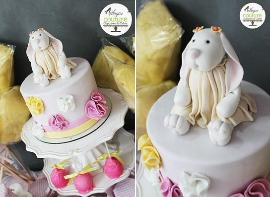 bunny cake topper for little girl's birthday party by Sugar Couture Cupcakes & Cakes