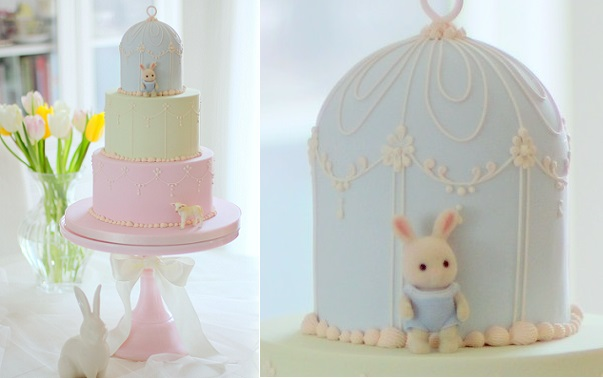 bunny rabbit cake with baby lamb by Other Cake Stories