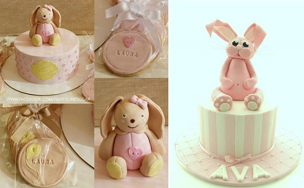 bunny rabbit cakes by Have Some Sugar, Portugal left and by Aimee Jayne Cakes right