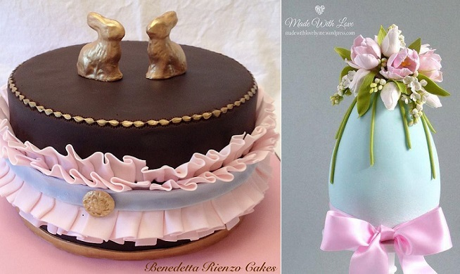 chocolate easter cake by Benedetta Rienzo Cakes left, decorated easter egg by Pamela McCaffrey right