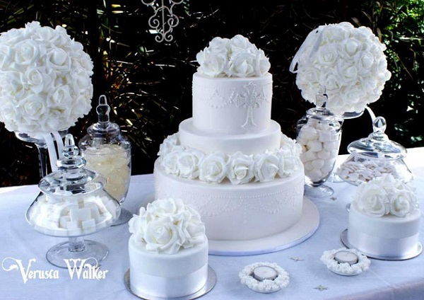 communion cake and sweet table by Verusca Walker