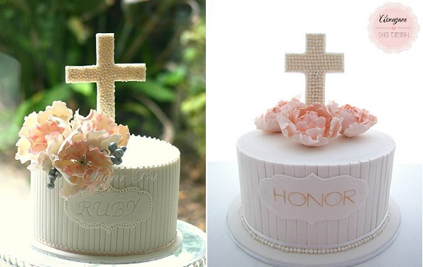 communion cakes and confirmation cakes by SugarPot left and Aimee Jayne Cake Design right