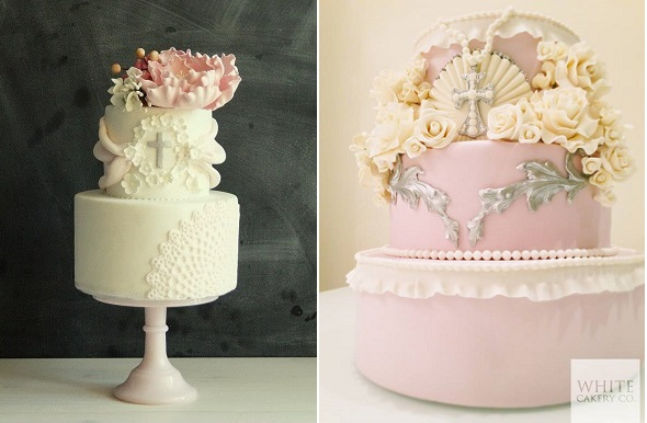 communion cakes, confirmation cakes, christening cakes by Sweet Bloom left, The White Cakery right