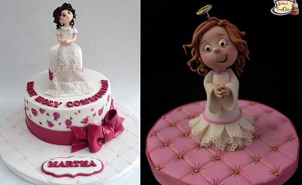 communion girl cake toppers by Roses & Bows Cakery left and Andrea's Sweet Cakes right