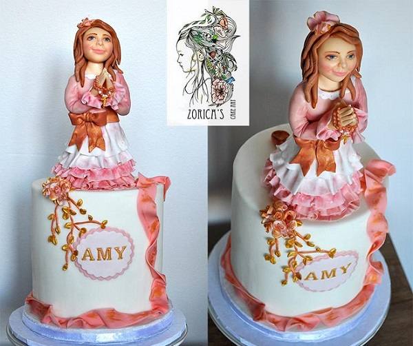 confirmation cake girl topper by Zorica's Cake Art