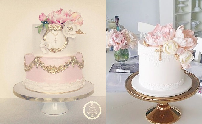 confirmation cakes, communion cakes, christening cakes by Simply Sweet Cakes & Cupcakes left, Sweet Bloom right