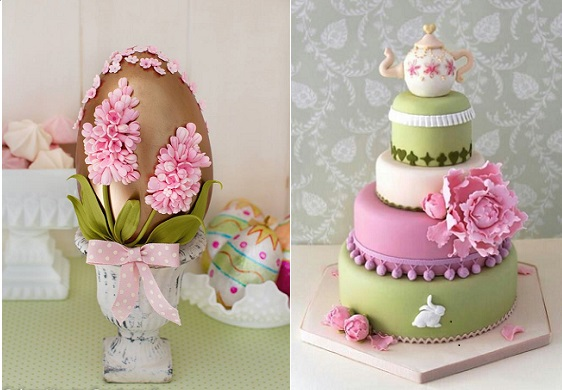 decorated easter egg by Cakes Haute Couture Spain left, easter bunny cake with teapot cake topper via Pinterest