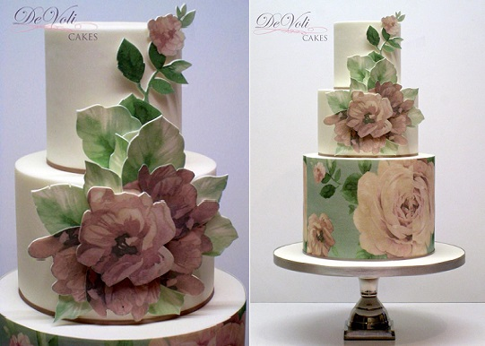 floral applique wedding cake by DeVoli Cakes