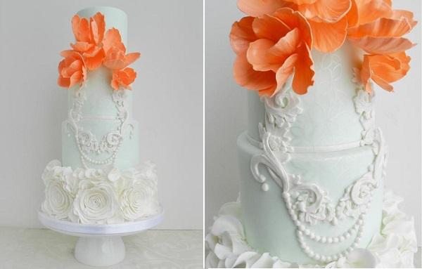 lace frame wedding cake by The Cake Whisperer