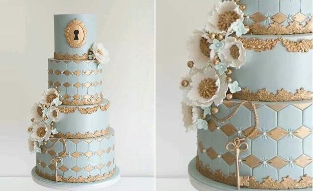 lock and key wedding cake by Coco Cakes Australia