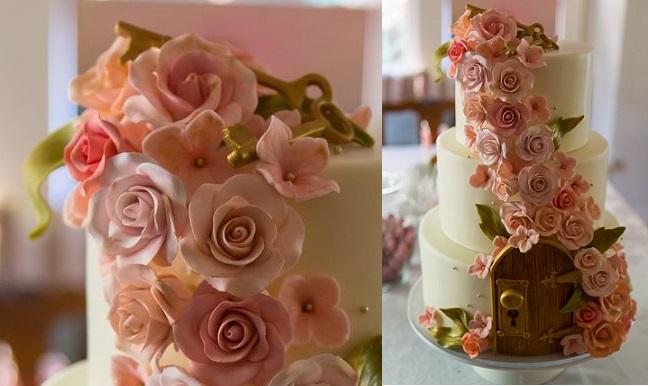 secret garden wedding cake by Studio Cake, Menlo CA, image by Kevin Von Essen Photography