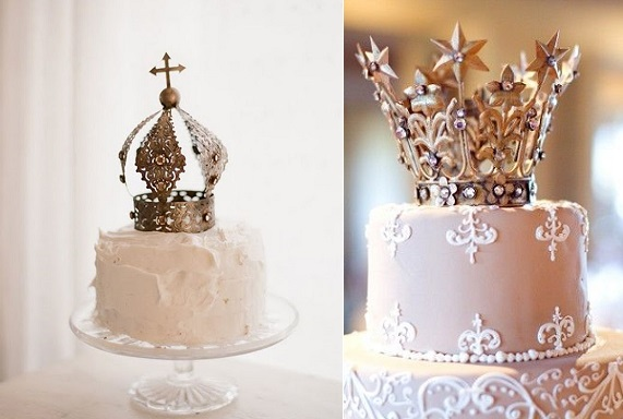 medieval crown cake toppers via A White Carousel left, via Elizabeth Anne Designs right