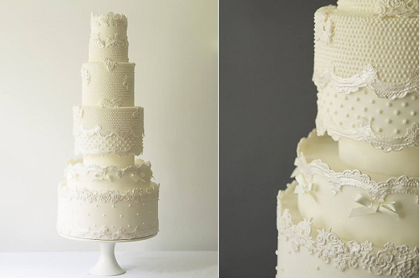 antique lace wedding cake by Abigail Bloom Cake Design