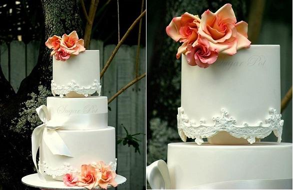 antique lace wedding cake by Sugarpot