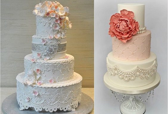 antique lace wedding cakes by The Cake Zone, Florida left and Kirsty Wirsty Cake Emporium right