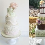 birch effect wedding cake by Jenna Rae Cakes left, woodgrain wedding cake by CJ's Sweet Treats