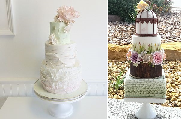 birch effect wedding cake by Jenna Rae Cakes left, woodgrain wedding cake by CJ's Sweet Treats