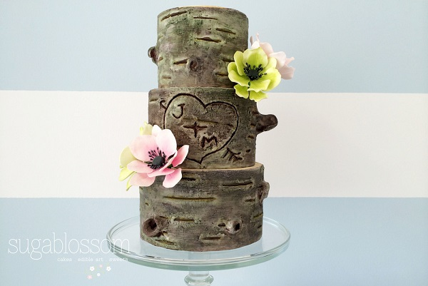birch tree wedding cake by Sugablossom