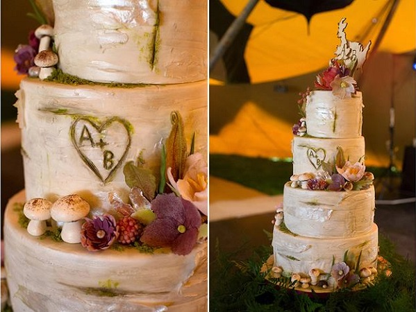 birch tree woodland wedding cake by Olofson Design, Leonard Wedding Photography