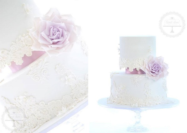 lace edging wedding cake with lavender accents by Sweet Love Cake Couture
