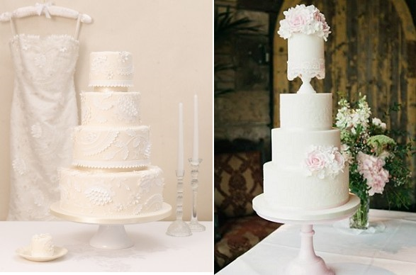 lace edging wedding cakes by Designer Cake Co, Photography by The Twins left, Zoe Clark Cakes right