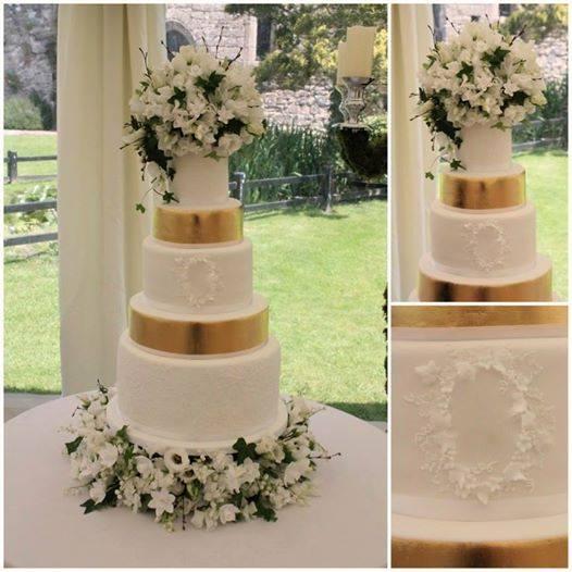 lace framed monogram wedding cake byTiers and Tiaras UK