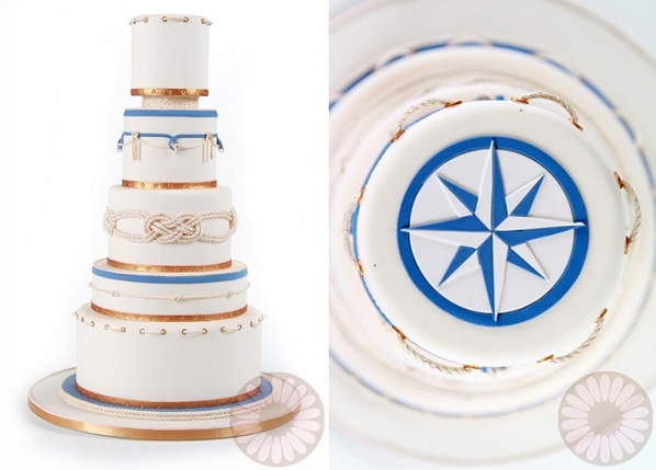 nautical compass wedding cake by Flour Confections. com