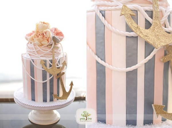nautical wedding cake, image by Green Tree Photography