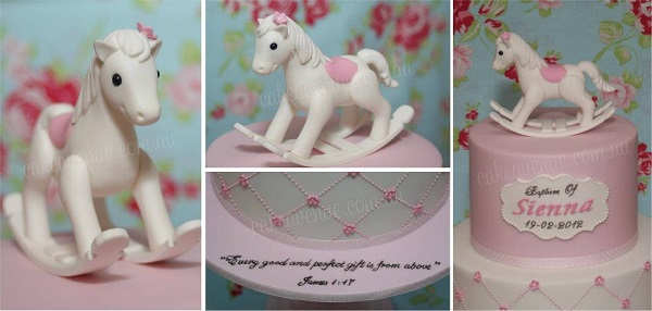 rocking horse cake for little girl by Cake Avenue