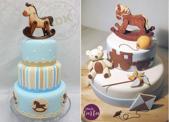rocking horse cakes by Arte da Ka left and by Viva La Tarta right