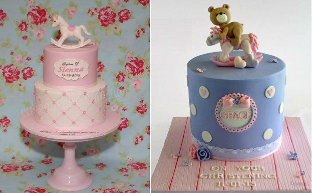 rocking horse cakes by Cakes Avenue left and by Rennae's Cakes right
