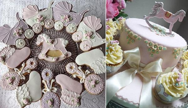 rocking horse cookies by Garrod's Wedding Cakes left, rocking horse cake by Scrummy Mummy's Cakes right