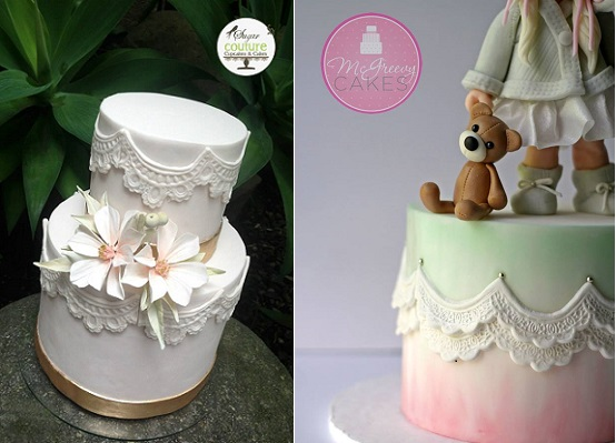 scalloped lace cakes lace swag cakes by Sugar Couture Cupcakes & Cakes left, McGreevy Cakes right