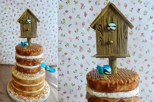 timber effect birdhouse cake tutorial from DoCrafts. com, Jill Pryor