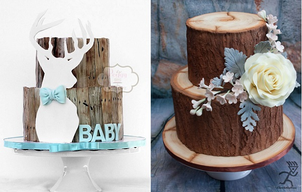 tree bark cakes woodgrain effect cakes by Peggy Does Cake left, Ciccio Cakes right