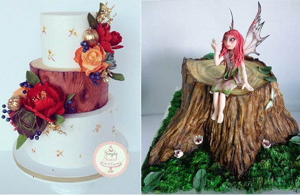 tree bark effect wedding cake by Simply Sweet Cakes & Cupcakes left, woodland fairy cake by Zoe  Robinson of The Cake Nook right