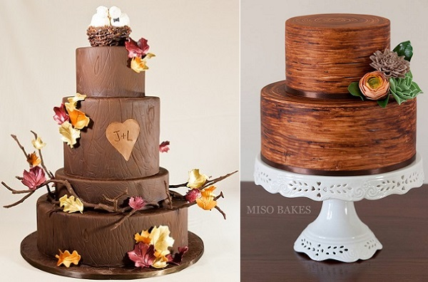 tree bark effect wedding cakes by Vanille Patisserie, Chicago left, Miso Bakes right
