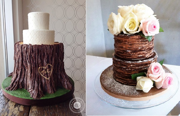 tree bark wedding cake by Bobbette & Belle left, chocolate crepe cake by Lismi Wong, Bites With A Healthy Twist