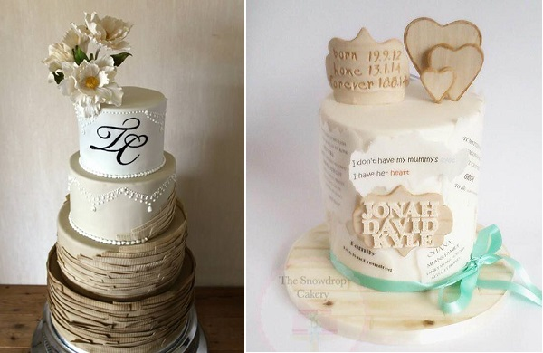 wood effect cakes by Liv Sandberg Cake Art left, Snowdrop Cakery adoption cake right