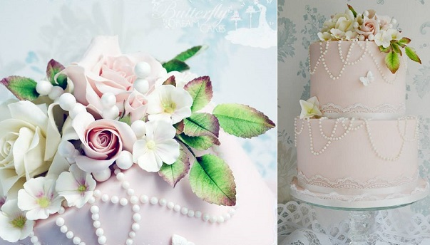 English garden wedding cake by Butterfly Dream Cakes