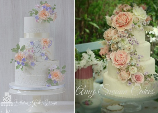 English garden wedding cakes by Bellaria Cakes Design left, Amy Swann Cakes right