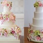 English garden wedding cakes by Bobbette & Belle, left and via Pinterest right