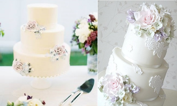 English garden wedding cakes by Erica O'Brien left with roses, hydrangea and lilac,right by Rachelle's Bespoke Cakes