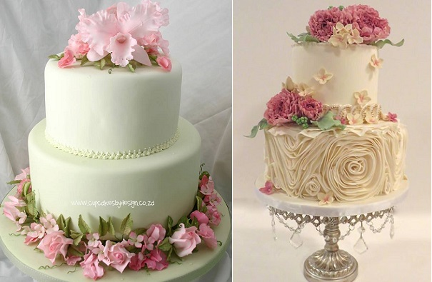 Garden style wedding cakes by Cupcakes by Design, South Africa left, Lisa Roberts Cakes right