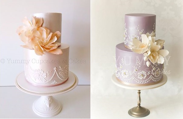 Lace veil edging wedding cakes by Yummy Cupcakes & Cakes