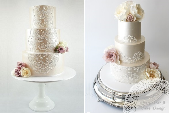 Lace veil piping and lace veil wedding cake by Faye Cahill Cake Design right, (image left via Pinterest unsourced)