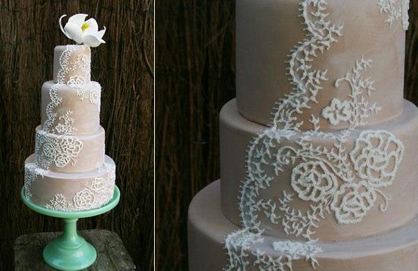 Lace veil wedding cake by Nadya's Cakes & Bakes UK