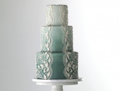 Lace veil wedding cake ombre effect with stencilled lace image via Pinterest